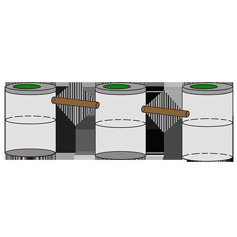 трехкамерный септик из колец для дачи 2+2+2
