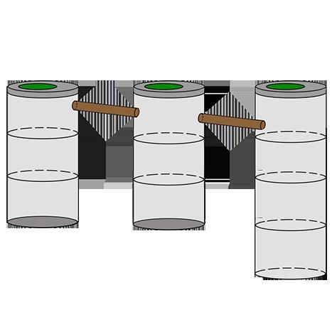 трехкамерный септик из колец для дачи 3+3+4