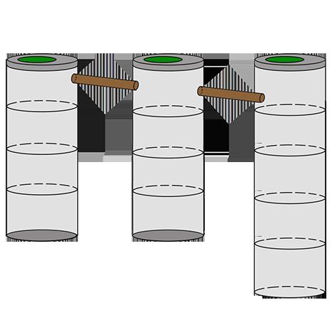трехкамерный септик из колец для дачи 4+4+5